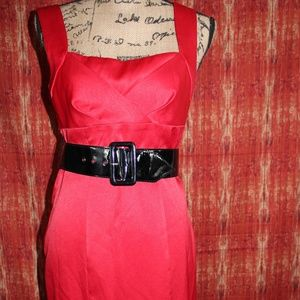 red sexy wiggle dress w/ belt pin up